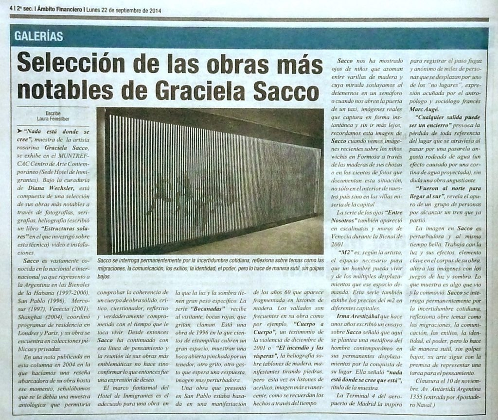Selección de las obras más notables de Graciela Sacco
